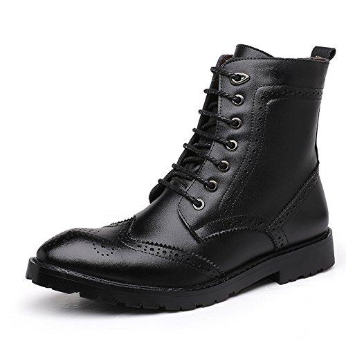 WZG Die neuen Martin Stiefel Bullock geschnitzt Leder High-Top Schuhe in Europa und Amerika-Gezeiten Stiefel zeigte Stiefel , black , 41