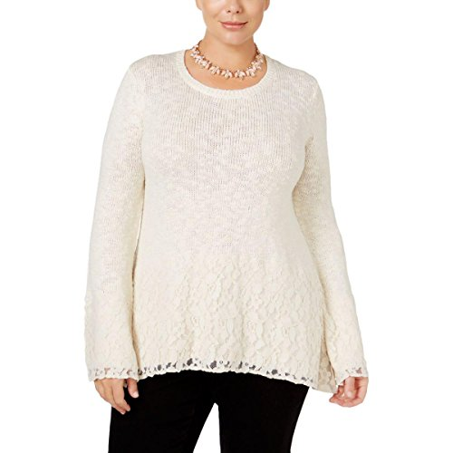 Style & Co. Womens Plus Metallic Lace Trim Pullover Sweater Ivory 0X (Lace Wool Sweater)