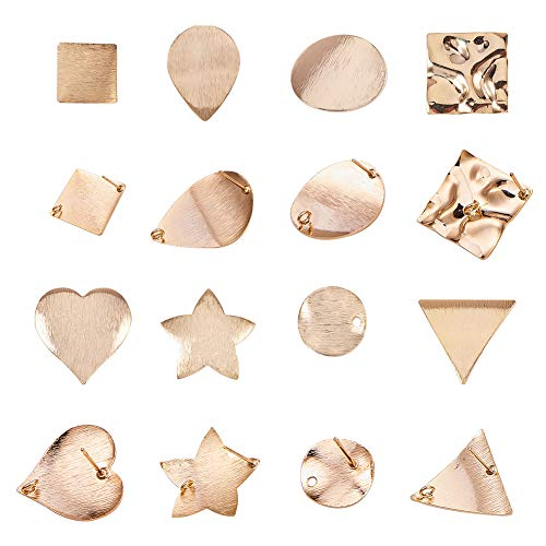 PandaHall Elite 16 pcs 8 Styles Brass Earrings Posts Earring Pin Post with Loop for DIY Earring Making, Golden