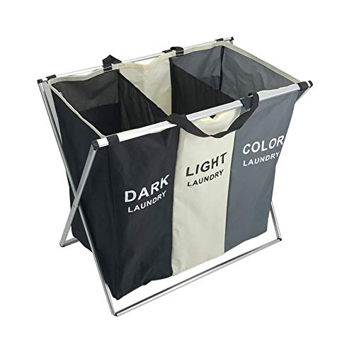 JMAIL Divided Laundry Hamper with Waterproof Oxford Bags, Aluminum Folding X-Frame 26