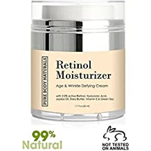 Retinol Moisturizer Cream for Face, Age Defying for Wrinkles and Lines by Pure Body Naturals