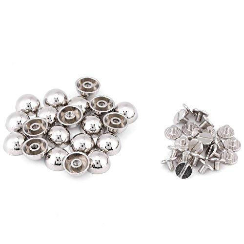 20pcs Rivets Studs, Screw Mushroom Rivets Buttons Dome Shape Rivets for Leather Belt Bag Shoes Decoration Craft Supplies(Silver)