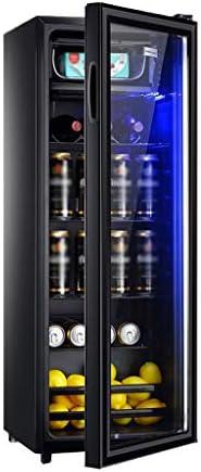 WANGLX 飲料冷蔵庫、クーラー - 138L、38 DB、LEDライト、調節可能な取り外し可能な棚付きオフィスやバーのためのミニ冷蔵庫付きのガラスドア、
