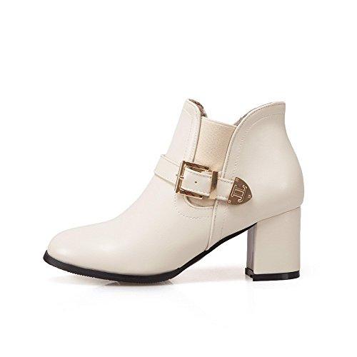 VogueZone009 Damen Rund Zehe Mittler Absatz PU Rein Ziehen auf Stiefel, Cremefarben, 37
