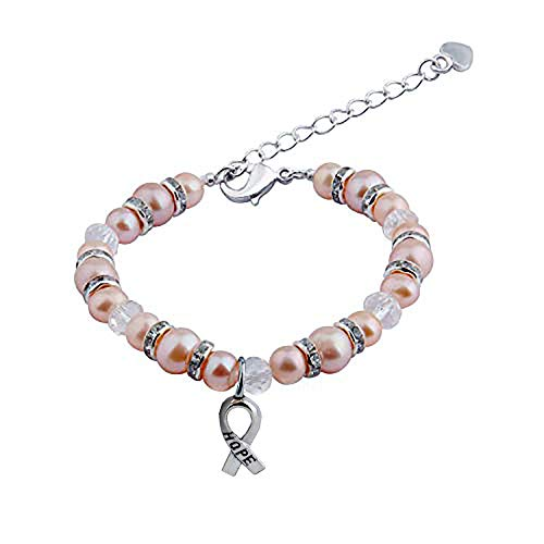 - AKTAP Breast Cancer Bracelets Nature Pearl Bracelet with Hope Ribbon Charm Cancer Gifts for Women (Hope Pearl Bracelet)