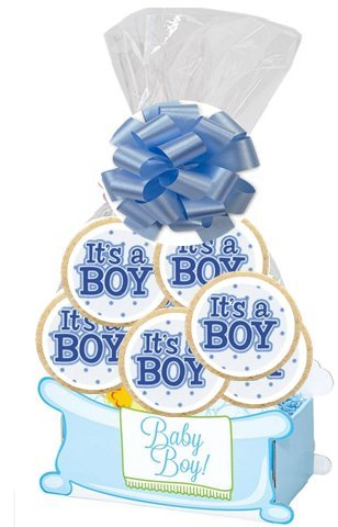 It's a Boy BAby Shower Baby Boy Gift Basket - 6pack Sugar Cookies in a Gift Basket Box