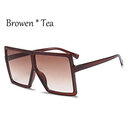 Browen Sol C3 Mujer Gafas De Enormes Gafas De TIANLIANG04 Bastidor Unas Protección Tea Sol Square Grande Plata Negro Solar C6 R1An0qU