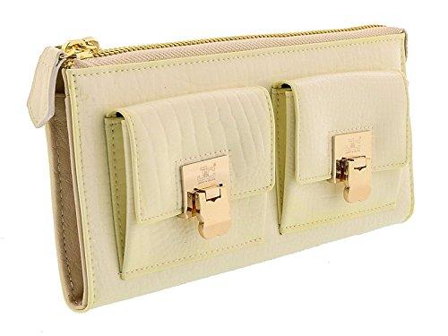 Jacky&Celine J11-012 AVARIO Ivory Zippered Large Wallet for womens - Celine Wallet