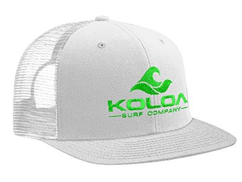 - Koloa Surf(tm) Mesh Back Wave Logo Trucker Hat in White/White Neon Green Logo
