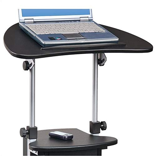 Pemberly Row Deluxe Height Adjustable Laptop Cart in Black