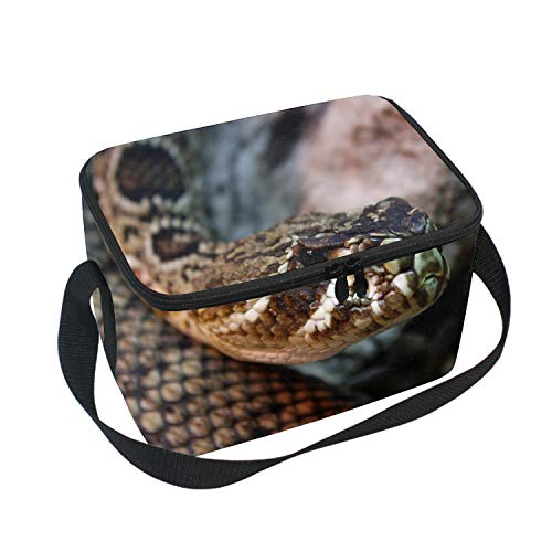 - Lunch Bag Insulated Lunchbox Cooler Pouch Shopper Tote Snake Sharp Glass Portable Fashion Handbag for School Work