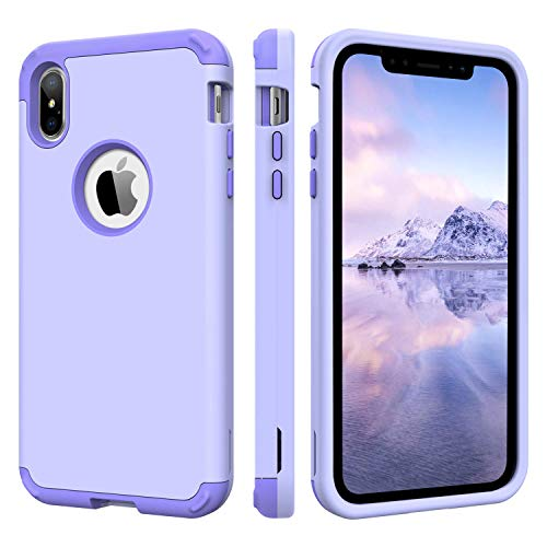 BENTOBEN Case for iPhone Xs Max 2018, 3 in 1 Hybrid Heavy Duty Shockproof Full Body Protective Rugged Cover Interior Anti-Scratch Combo Girl Women Cover Cases for iPhone Xs 6.5, - Lavender Iphone Purple