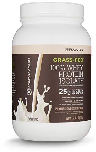 Amazon Elements Grass-Fed 100% Whey Protein Isolate Powder, Unflavored, 2.05 lbs (31 Servings) ()