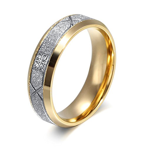 Chryssa Gold Sand Polished Love Fashion CZ Diamonds Stone Pave Stainless Steel Lovers Band Couples Wedding Promise Ring(SZZ-29) (women, Size 9)