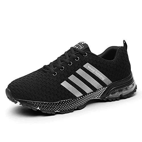 KUBUA Mens Running Shoes Casual Indoor Fitness Outdoor Road Walking Athletic Jogging Footwear Fashion Sneakers Tennis Sports 12.5 B / 11 D K Black