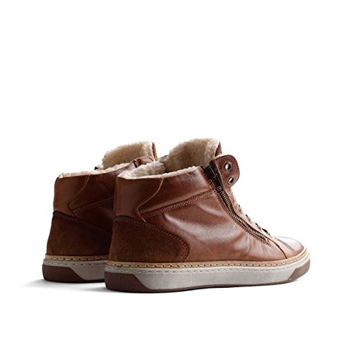 Travelin Nordby Winter Chukka Boots | Schnürhalbschuhe Wolle Gefüttert Herren | Sneakers Men | Freizeitschuhe | Lederschuhe in Cognac 46 EU