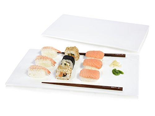 Sänger Servierplatten Set 2 teilig aus Porzellan   Maße ca. 19x38 cm   Vielseitig einsetzbar als Käseplatte, Wurstplatte oder einfach als Unterlage   Gastronomie geeignet