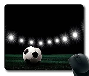 Rectangle mouse pad Diy Design Soccer Ball and Lights