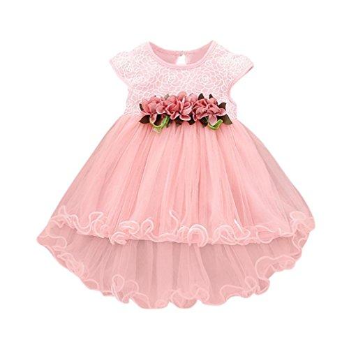 Spectacular Girl Dress - Muxika Toddler Baby Girls Summer Floral Dress Princess Party Wedding Tulle Dresses (0-6 Months, Pink)