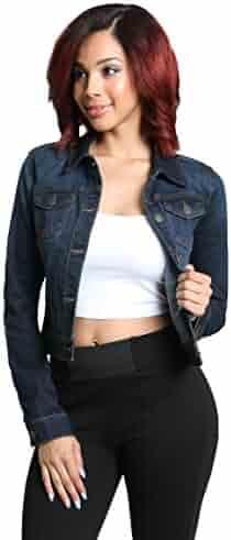 5b6b0733932 Womens Classic Stretch Denim Jean Jacket Slim Fit Collection
