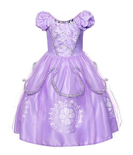 JerrisApparel Girls Princess Sofia Costume Floor Length Birthday Party Dress up (4T, Lilac)