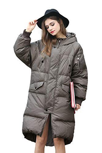 Winter Jacket Coat Women Puffer Anorak Long Coat Quilted Snow Warm Parka Down Hooded Top Sleeve Coat Women Bubble Fashion Ladies Jacket Waterproof Heavy Zip Sport Jacket Casual Grey Women Coat S