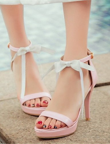 Tacón mujer Cuero de ShangYi Oficina y Vestido aguja Fiesta noche Rosa blanco Sandalias Zapatos carrera Tacones para artificial rosa y YqEXqtw