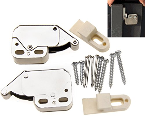 2pcs Push To Open Touch Release Lock Spring Loaded Mini Tip Latch Cupboard Door
