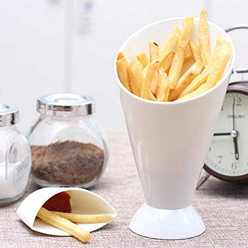 Quaanti 2 in 1 French Fry Cone with Dipping Cup - Home Kitchen Potato Tool Tableware - French Fry Holder,French Fry Cone Dipping Cups for French Fries and Veggies Removable Dip Cup (White) by Quaanti (Image #2)