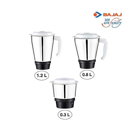 Bajaj Rex Mixer Grinder, 500W, 3 Jars (White) 5