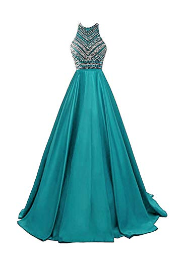 (HEIMO Women's Sequins Evening Party Gowns Beading Formal Prom Dresses Long H187 16 Turquoise)
