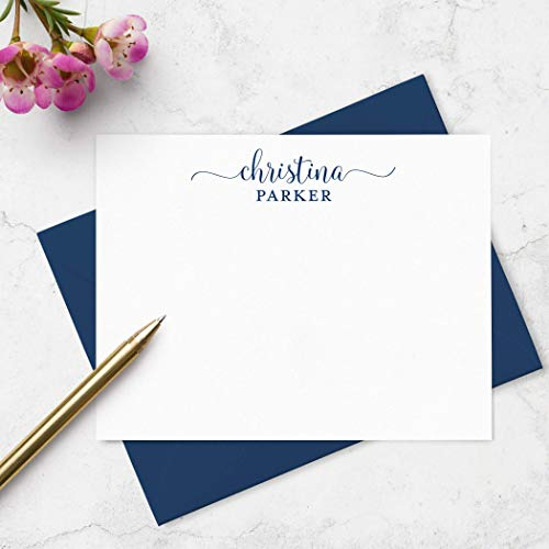 Personalized Flat Note Card and Envelope Set - Custom Boxed Stationery Set - Choose Ink and Envelope ()