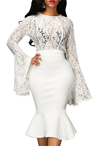 Womens Sexy 2 Pieces Lace Ruffles Blouse Shirts Bodycon Mermaid Skirt Party Clubwear Dress Set