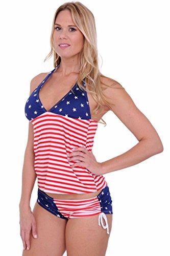 SHORE TRENDZ Women's USA Flag Tankini & String Shorts 2-Piece Swimwear: T (XL) B (XL)
