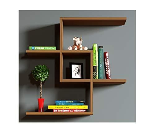 Homidea Chain Wandregal - Nussbaum - Bücherregal - Hängeregal - Dekoregal für Wohnzimmer in modernem Design …