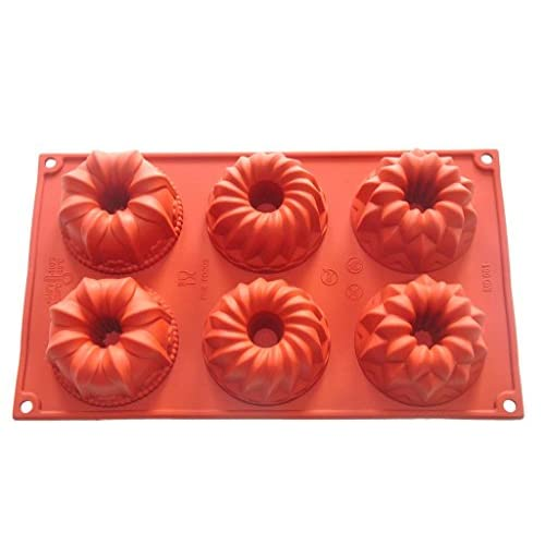 FOUR-C Cake Supplies Cake Baking Molds Flower Silicone Pans Color Purplish Red