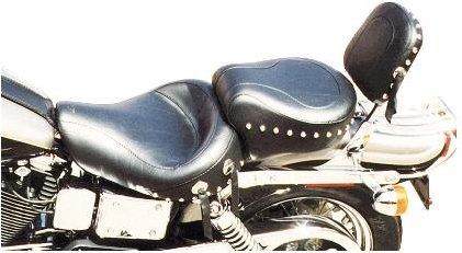 Mustang Motorcycle Seats Wide Studded Super Touring One-Piece Seat for 1996-2003 Harley Davidson Dyna