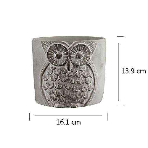 Silicone Mold for Cement Vase Tool Circular with Owl Pattern Concrete Flowerpot Mould