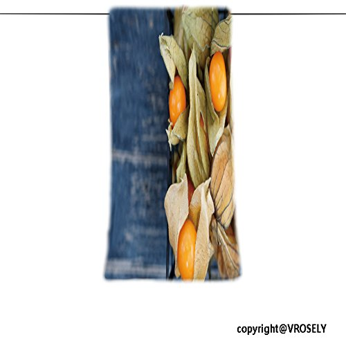 VROSELV Custom Towel Soft and Comfortable Beach Towel-Top view on the physalis fruit in a black basket_ Design Hand Towel Bath Towels For Home Outdoor Travel Use 7.9