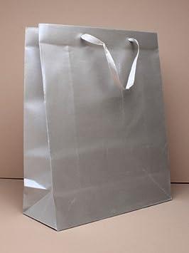 Bolsas de regalo grandes de plata con asas de cinta - para ...