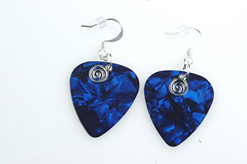 Guitar Pick Jewelry Earrings - Guitar Pick Earrings with Silver Swirled Charm