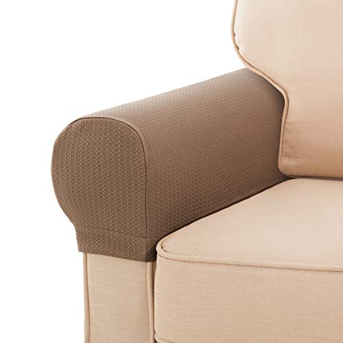 SyMax Spandex Armrest Cover Stretch Fabric Anti-Slip Armchair Slipcovers 2 Pieces Sofa Arm Covers(Sand)