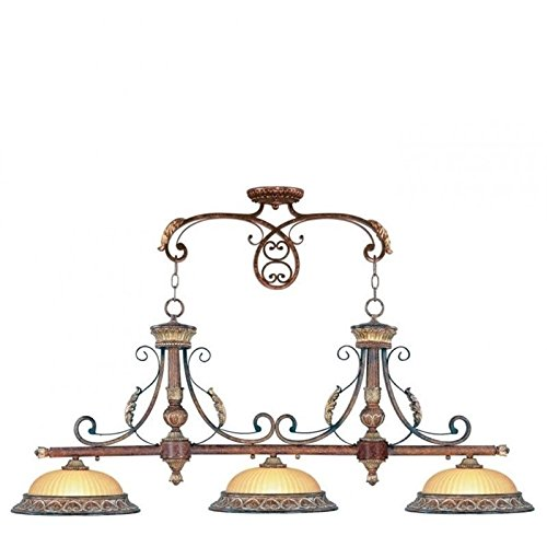 Pemberly Row 3 Light Island Light in Verona Bronze and Aged Gold Leaf - Verona 3 Light Vanity