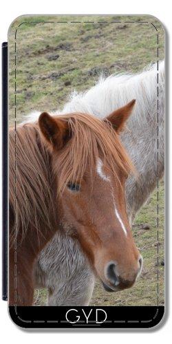 Leder Flip Case Tasche Hülle für Apple Iphone 7 Plus / 8 Plus - Pferd Tier Pferdefarm by WonderfulDreamPicture