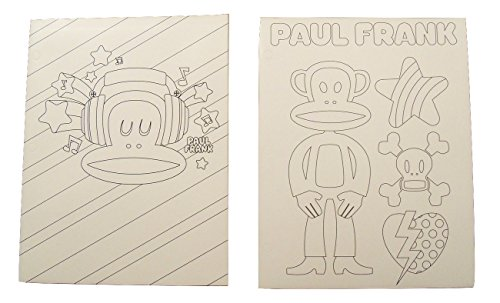 Paul Frank Color Your Own 2 Folder Set ~ Julius Listening to Music; Julius with Striped Star, Skull and Crossbones, Broken Patterned Heart