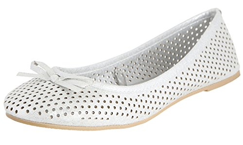 Capelli New York Ladies Circle Perforated Flats with Bow Silver 10