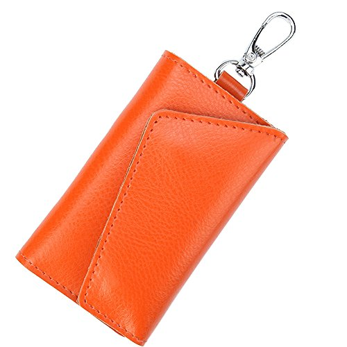 Keychain Bag Case (HOLLY TRIP Unisex Mens Womens Leather Car Key Case Bag Wallet Keychain Key Holder Ring with 6 Hooks Snap Closure, Orange)