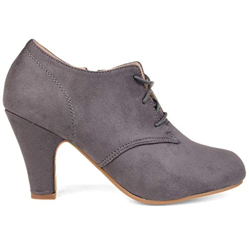 Vintage Pumps Suede (Brinley Co. Womens Vintage Round Toe High Heel Lace-up Faux Suede Booties Grey, 9 Wide Width US)