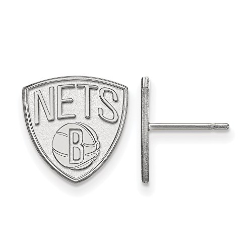 NBA Brooklyn Nets Small Post Earrings in Sterling Silver by LogoArt