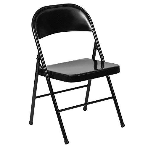 Flash Furniture 2 Pk. HERCULES Series Double Braced Black Metal Folding Chair
